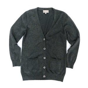 JOAN VASS NEW YORK Women's Grey Cardigan Sweater M